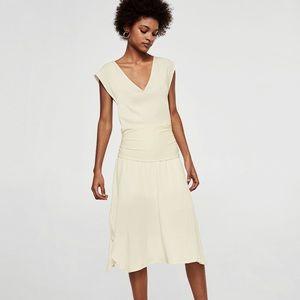 Mango 20's inspired white midi dress